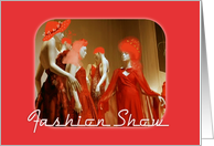 Fashion Show Invitation-Mannequins in Red Dresses card