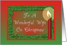 Christmas-Candle-Holly-Red-Green-For Wife card