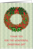 Christmas-Thank You For The Gift-Holiday Wreath-Holly Berries card