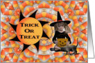 Halloween-Trick Or Treat-Girl Witch-Black Cat-Candy card