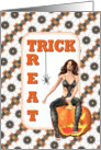 Halloween-Sexy Lady-Pumpkin-Spider-Trick or Treat card