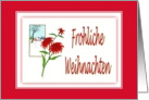 Frohliche Weihnachten-Christmas-German-Poinsettia-Christmas Flower-Plant card
