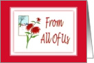 Christmas-From All Of Us-Poinsettia-Christmas Flower-Plant card