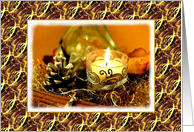 Thank You For The Christmas Gift-Candle-Pine Cone-Gold Ribbons, card
