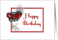 Happy Birthday-Victorian Lady In Red Hat-Old Fashion card