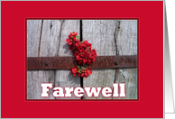 Farewell-Red Flowers-Wooden Gate-Rustic card