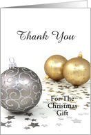 Thank You For The Christmas Gift-Gold and Silver-Ornaments-Stars card