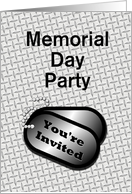 Memorial Day Party Invitation With Dog Tags-Custom Card