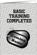 Coming Home Dog Tags-From Basic Training Announcement card