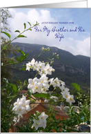 Brother Wedding Anniversary Card - Jasmine and Mountains card