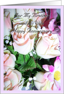 Brother Wedding Anniversary Card - Flowers card