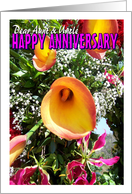 Aunt and Uncle Wedding Anniversary Card - Flowers card