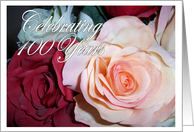 100th Birthday Card - Roses card