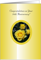 70th Wedding Anniversary Card - Yellow Rose card