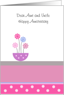 Aunt And Uncle Wedding Anniversary Card - Pot Of Flowers card