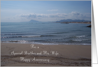 Brother And Wife Wedding Anniversary Card - Sea and Beach card