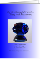 65th Wedding Anniversary Parents- Blue Sapphire card