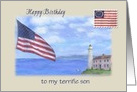 for Son Birthday Patriotic Lighthouse 4th July card