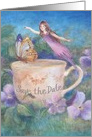 Save the Date Teacup Fairy Garden Party card