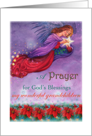 For grandchildren, Xmas Prayer for god's blessing, twinkling angel card