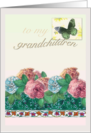Valentine Roses Butterfly Grandchildren card