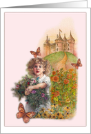 Princess Magical Castle Little Sister Birthday card