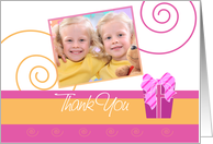 Cheerful Pink and Orange single photo card Birthday Party thank you for coming card
