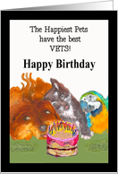 Happy Birthday Veterinarian Occupation with pets card