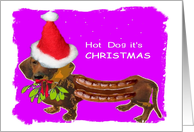 Christmas sausage hot dog theme card
