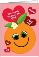 Aunt Valentine's Day Funny Smiling Orange with Red Hearts on Pink card