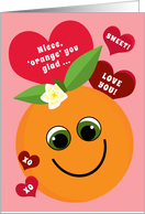 Niece Valentine's Day Funny Smiling Orange with Red Hearts Pink card