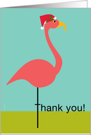 Christmas Thank You for Classy Gift Pink Lawn Flamingo in Santa Hat card