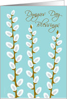 Dyngus Day Blessings Three Pussy Willows on Pale Blue card