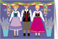 Dyngus Day Folk Art Boy and Girls with Polish Flags and Pussy Willows card