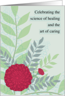 National Doctors' Day Red Carnations Green and Gray Leaves Botanical card