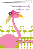 Grandmother Mother's Day Fun Pink Flamingo Wearing a Hat card