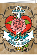 80 Years Mom and Dad Anniversary with Anchor Bluebirds Rose and Heart card