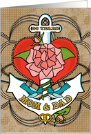 50 Years Mom and Dad Anniversary with Anchor Bluebirds Rose and Heart card