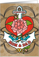Mom and Dad Anniversary with Anchor Bluebirds Rose and Heart card