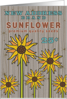 Sunflower Moving Announcement We've Moved Rustic Barn Wood Look card