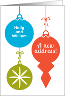 Fun Christmas New Address Announcement Add Names Retro Ornaments card