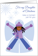 Daughter Christmas African American Girl Snow Angel and Snowflakes card