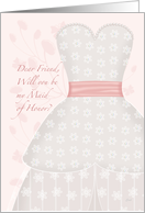 Lace Shadow Maid of Honor Friend card