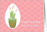 Easter Across the Miles Tulip Planter and Decorated Eggs on Pink card