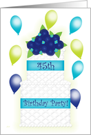 45th Birthday Invite Cake & Balloons card