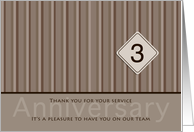 Employee Anniversary Taupe 3 Years card