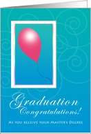Master's Degree Congratulations Red Balloon Sky is the Limit card