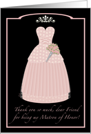 Pink Princess Friend Thanks Matron of Honor card
