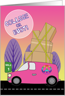Away to College in a Pink Van Packed with Boxes on Road to University card