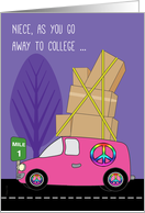 Niece Away to College in a Pink Peace Van Loaded with Boxes card